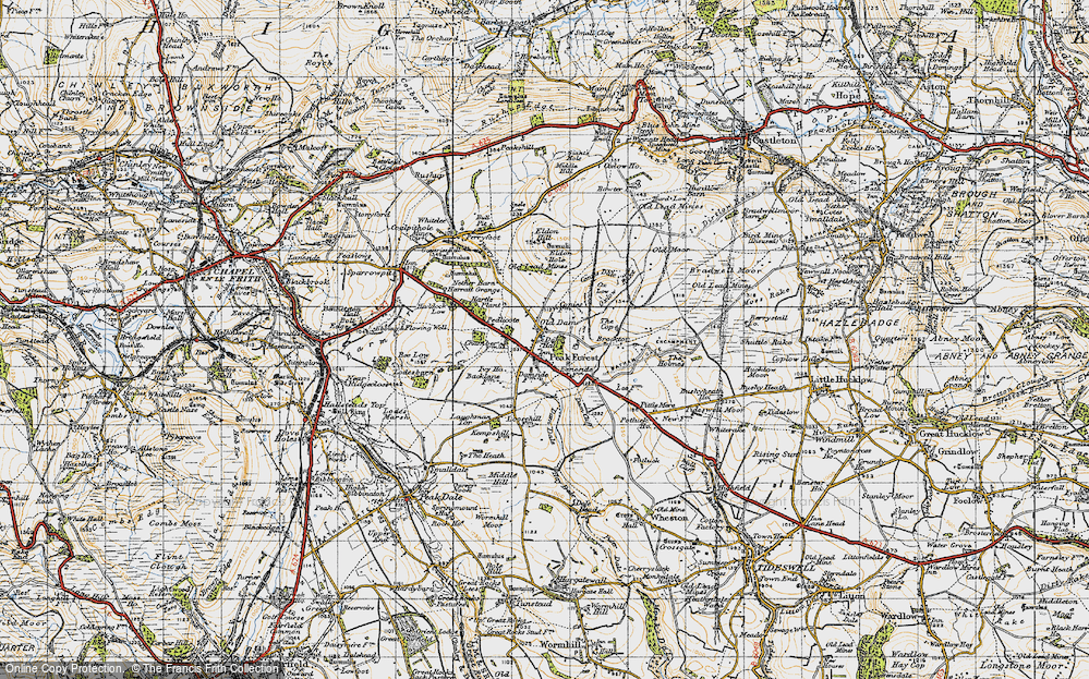 Old Map of Historic Map covering Laughman Tor in 1947
