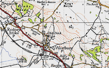 Old map of Westbury Beacon in 1946