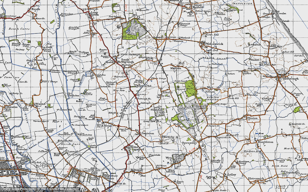 Old Map of Historic Map covering Wood Hall in 1947
