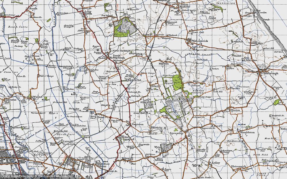Old Map of Old Ellerby, 1947 in 1947