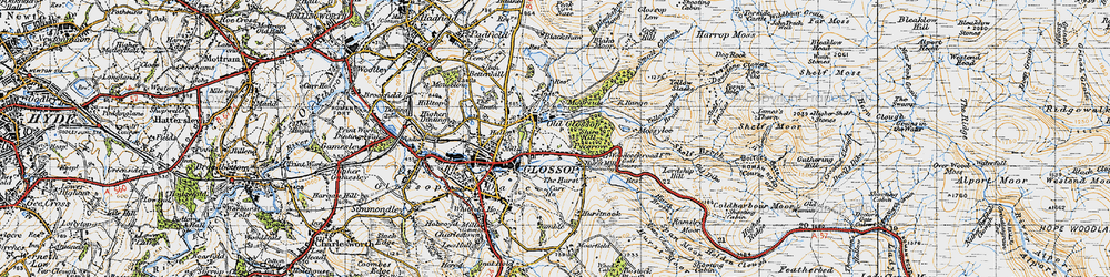 Old map of Yellowslacks Brook in 1947