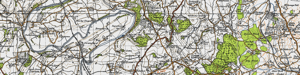 Old map of Yatton Wood in 1947