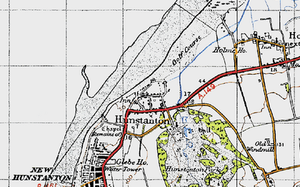 Old map of Old Hunstanton in 1946