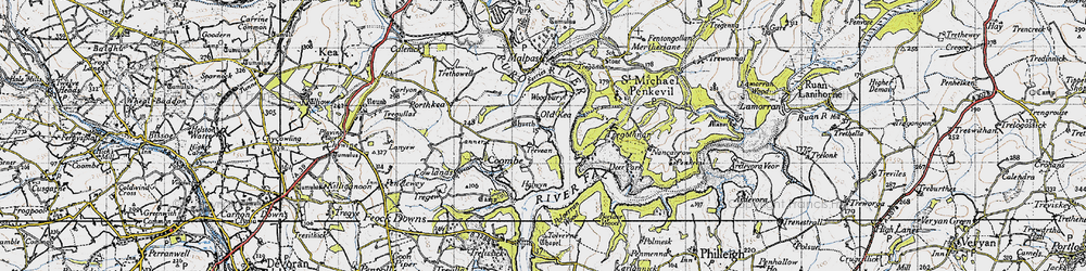 Old map of Tolvern Cott in 1946