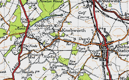 Old map of Old Knebworth in 1946