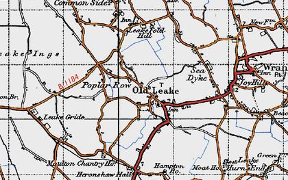 Old map of Leverton Ings in 1946