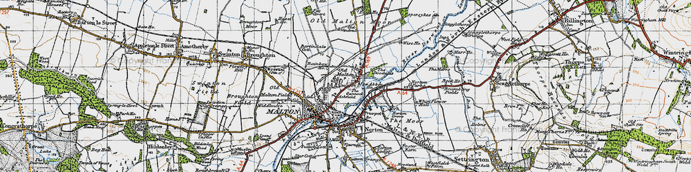 Old map of Old Malton in 1947