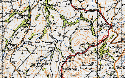 Old map of Banc Cefnperfedd in 1947