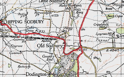 Old map of Old Sodbury in 1946