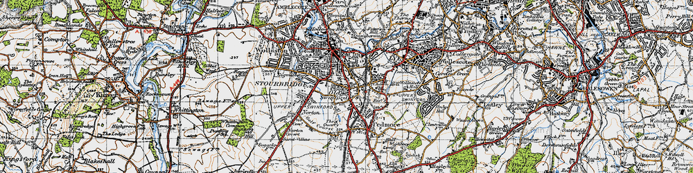 Old map of Old Swinford in 1947
