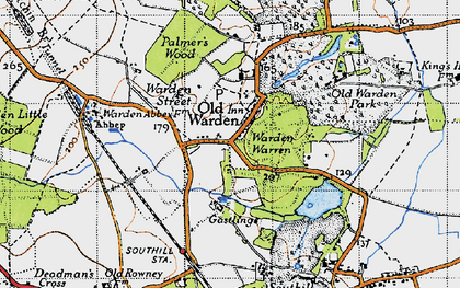 Old map of Old Warden in 1946