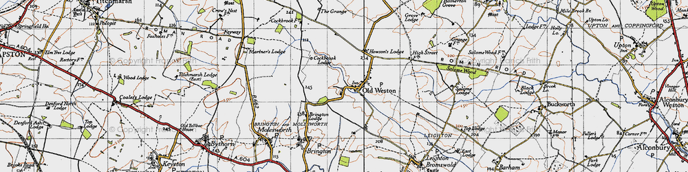 Old map of Old Weston in 1946