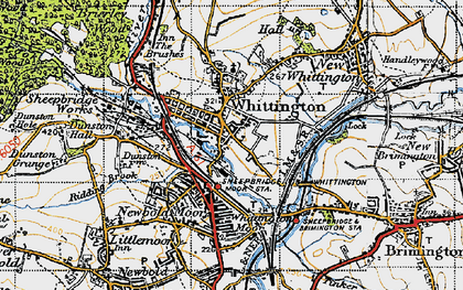 Old map of Old Whittington in 1947