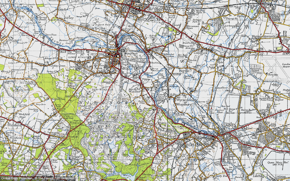 Old Map of Historic Map covering Albert Br in 1945