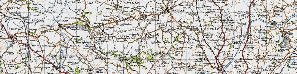Old map of Wych Brook in 1947