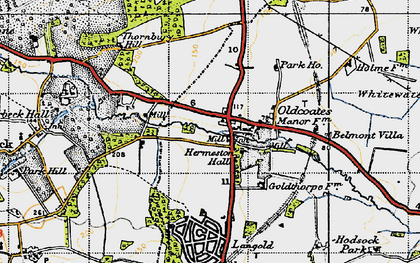 Old map of Whitewater Common in 1947