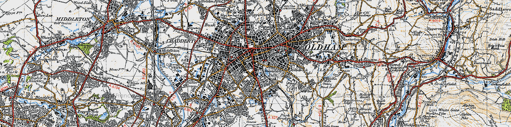 Old map of Oldham in 1947
