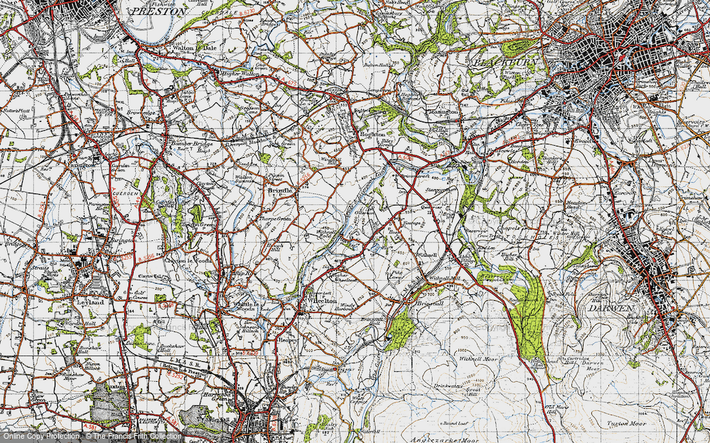 Old Map of Historic Map covering Leeds and Liverpool Canal in 1947