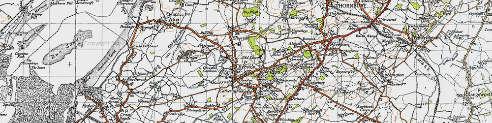 Old map of Olveston in 1946