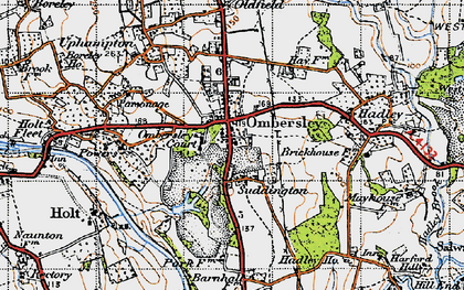 Old map of Ombersley in 1947
