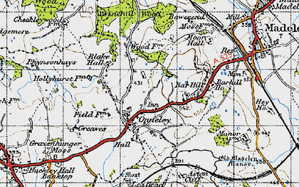 Old map of Wrinehill Wood in 1946