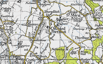 Old map of Orchard Portman in 1946