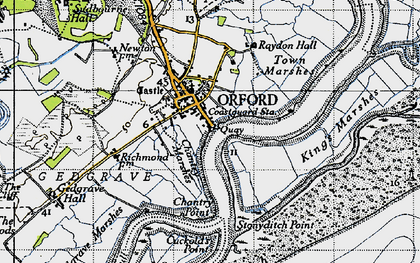 Old map of Orford in 1946