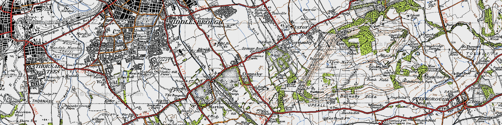 Old map of Ormesby in 1947