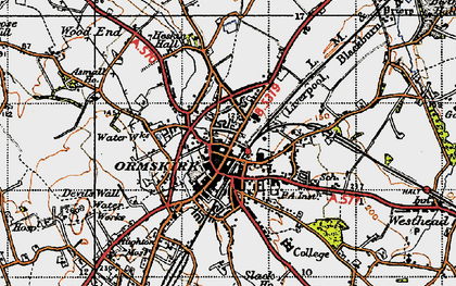 Old map of Ormskirk in 1947