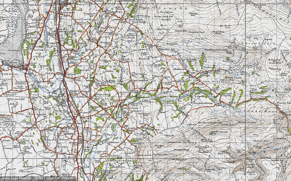 Old Map of Historic Map covering Lentworth Hall in 1947