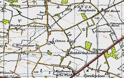 Old map of Orton Rigg in 1947