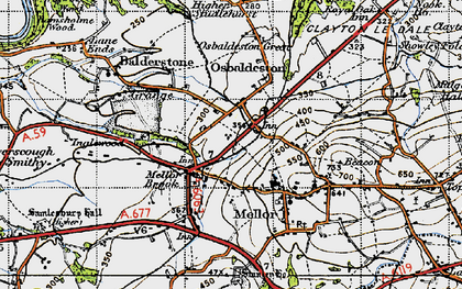 Old map of Osbaldeston in 1947