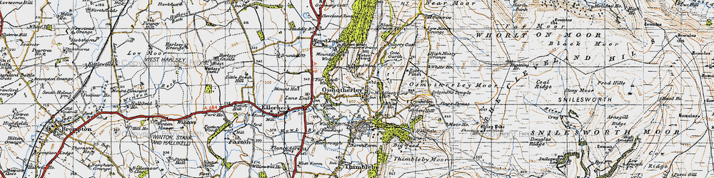 Old map of Osmotherley in 1947