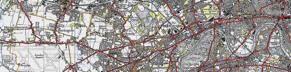 Old map of Osterley in 1945