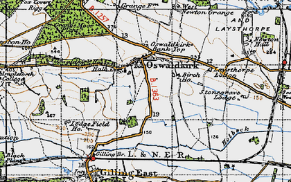 Old map of Oswaldkirk in 1947