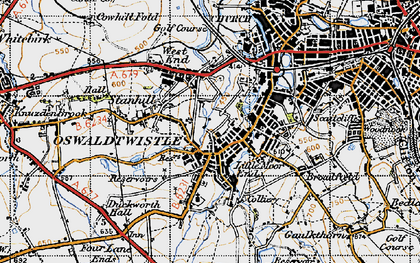 Old map of Oswaldtwistle in 1947