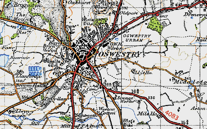 Old map of Oswestry in 1947