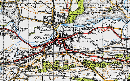 Old map of Otley in 1947