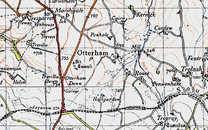 Old map of Otterham in 1946