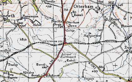 Old map of Otterham Station in 1946