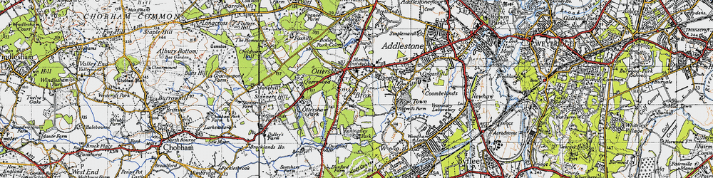 Old map of Ottershaw in 1940