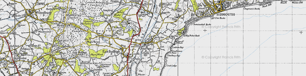 Old map of Otterton in 1946