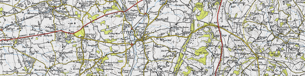 Old map of Ottery St Mary in 1946