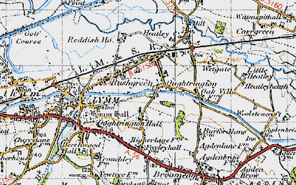 Old map of Oughtrington in 1947