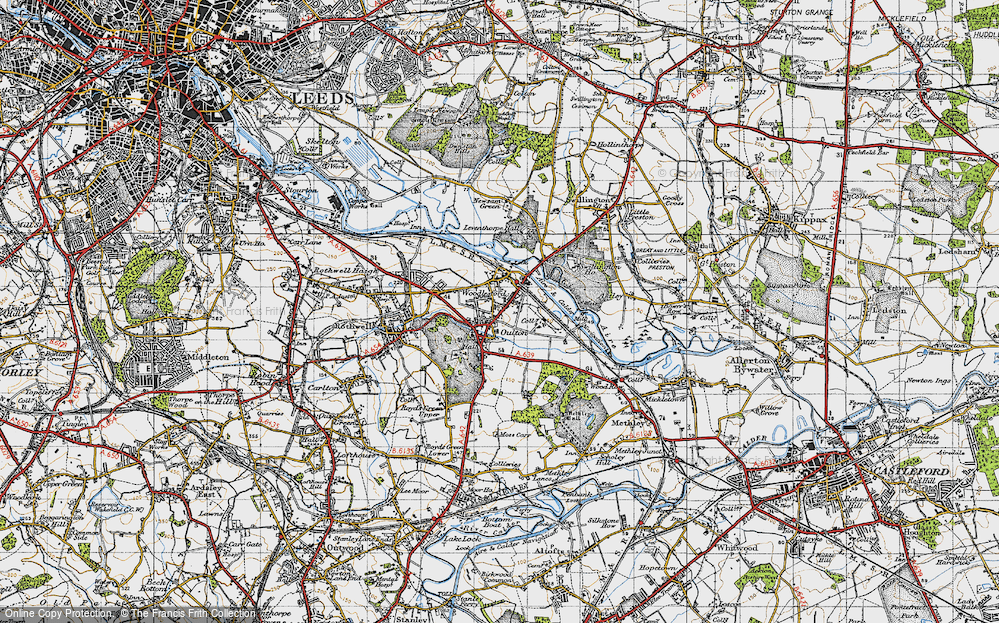 Old Map of Historic Map covering Aire & Calder Navigation in 1947