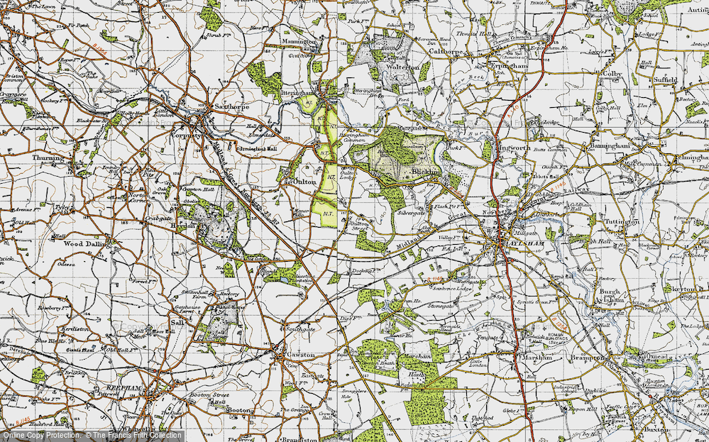 Old Map of Historic Map covering Leaselands, The in 1945