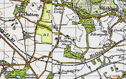 Old map of Leaselands, The in 1945