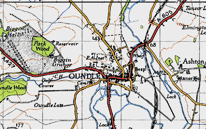 Old map of Oundle in 1946