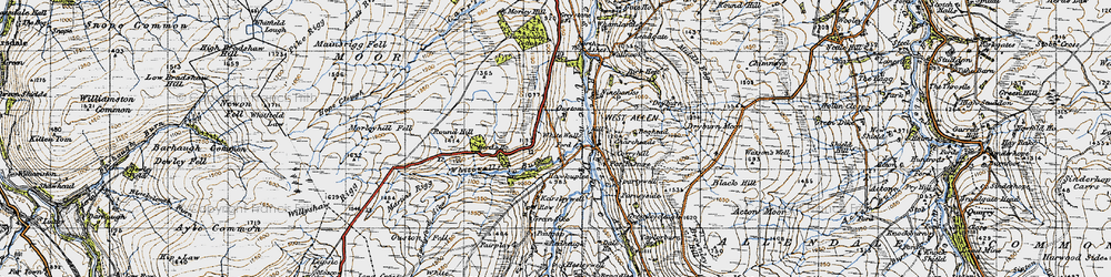Old map of Whitewalls Burn in 1947