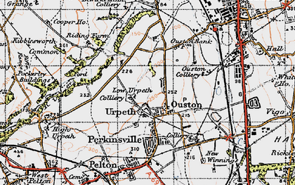 Old map of Ouston in 1947